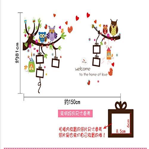 WTTTL Sticker Mural Sticker Mural Autocollant animalierStickers Muraux Dessin Animé Photo Belle Beaux Hiboux Colorés Oiseaux Décoration De La Maison 3D Bricolage Kis Salle Animaux Mur