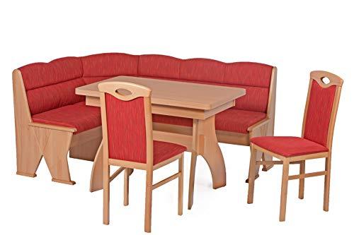 HOWE-Deko Truhen-Eckbankgruppe, Buche Natur Dekor; Eckbank, 2 Stühle und Tisch mit Auszügen und massiven Außenwangen und Rundecken; Bezug: Jaquard Gemustert; variabel aufbaubar