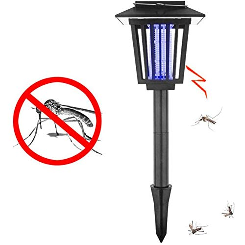Mosquito Killer Lamp, Solar Insectenverdelger UV-Lamp Mosquito Bug Zapper Killer UV-Lamp Insect Pest Outdoor Tuin Gazon Landschap Light Waterdicht,Black