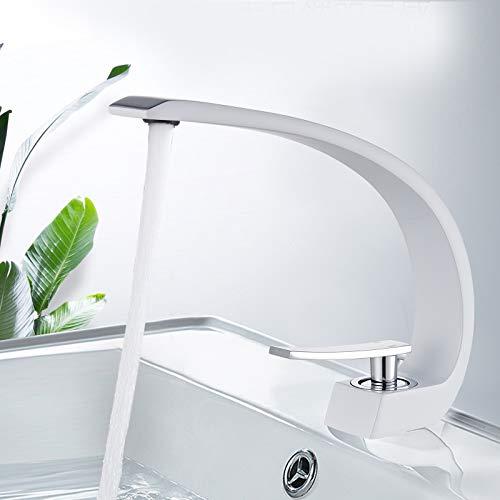 SUGU Badarmaturen Waschtisch Ausziehbar Waschbecken Armatur Chrom Bad Armatur Waschbecken Badezimmer Amaturen Waschbecken Einhebelmischer Waschtisch (Weiß Chrom)