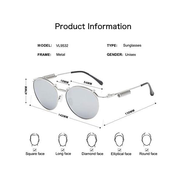 VANLINKER Round Trendy Metal Polarized Sunglasses For Men UV Protection Reflective Lens Spring Leg Vapor