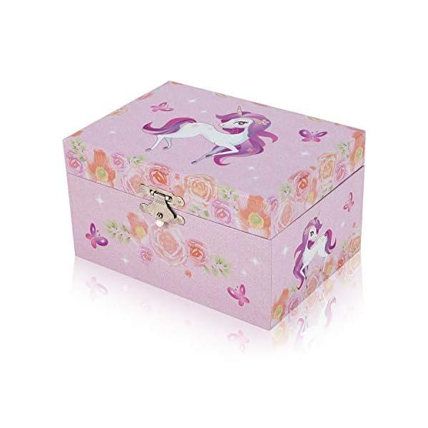 TAOPU Sweet Musical Jewelry Box with Spinning Cute Unicorn Figurines Music Box Jewel Storage Case for Girls 7