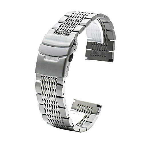 Juntan Compatible for Samsung Galaxy Watch 46mm Gear S3 Frontier, Classic Samsung Galaxy Watch 3 45mm Correa Reloj Malla Acero Inoxidable 22mm Cierre metálico Repuesto Plateado