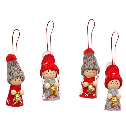 Dekohelden24 Weihnachtswichtel als Baumbehang im 4er Set in grau/rot mit Glöckchen