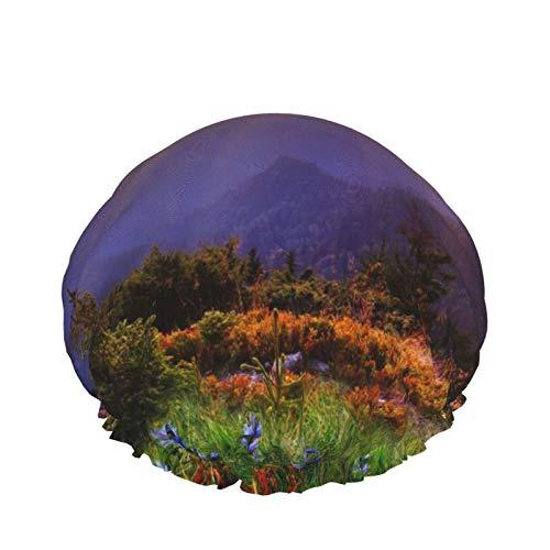 Morning Sunrise Purple Wildflowers Paisaje Rosa manzanilla pintura al óleo Microfibra Adulto Doble Capas Gorro de Ducha Reutilizable