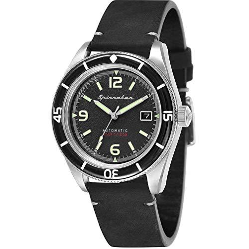 SPINNAKER Men's Fleuss 43mm Leather Band Steel Case Automatic Watch...