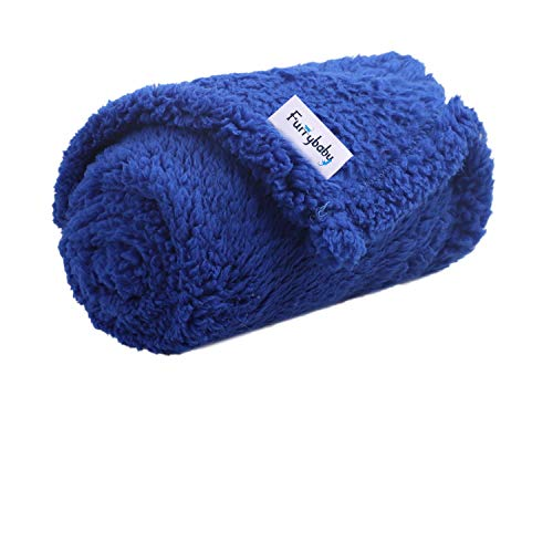 """furrybaby Premium Fluffy Fleece Dog Blanket, Soft and Warm Pet Throw for Dogs & Cats (Small (2432""""), Blue Blanket)"""