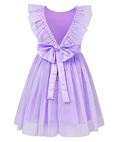 AIDEAONE Prinzessinen Kleid Mädchen Schöne Kleider Fasching Kleider für Sommer Kinderkleidung Partykleid Lila 2-3 Jahre (90)