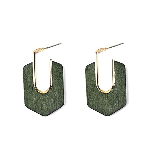 DFDLNL Ear Cuffs For Women Women Black Red Brown Wood Stud Pendientes para Mujer Ethnic Indian Gold Big EarringsGreen