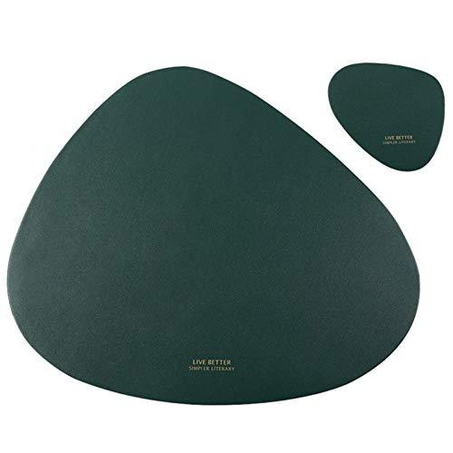 Manteles Individuales Cuero, Antideslizantes Mantel Conjunto con Posavasos, Lavables Resistente al Calor para la Mesa de Comedor (Color : Green, Size : Set of 6)