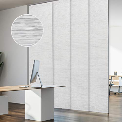 GoDear Design Deluxe Adjustable Sliding Panel Track Blind 45.8'- 86' W x 96' H, Extendable 4-Rail Track, Trimmable Pleated Natural Woven Fabric, Mica