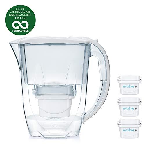 Aqua Optima Jarra Oria con 3 Cartuchos de Filtro de Agua Evolve+ 30 días, Blanco, 256x122x266