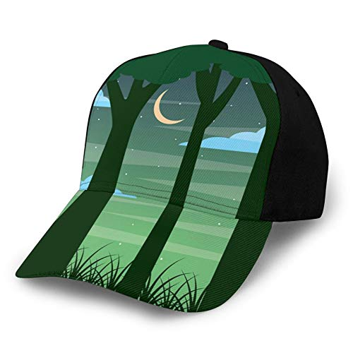 Printed Baseball Cap,Dreamy Forest Trees At Night Sky with Crescent Moon Cloud and Stars,Hat for Men Women Teens