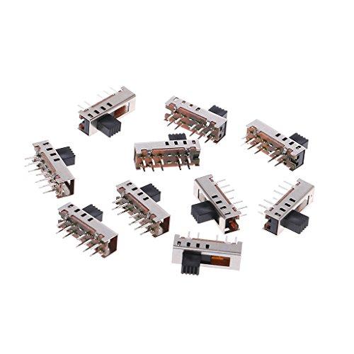 Qirun Interruptores deslizantes de 10 Piezas SS24E01-G5, Interruptor de Palanca de 4 Posiciones de 10 Pines Verticales 0.5A
