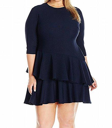 Eliza J Women's Plus Size 3/4 Sleeve Dress with Tiered Ruffle Skirt, Navy, 16W