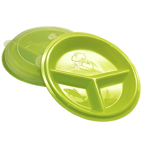 Rehabilitation Advantage 3 Compartment Portion Plate with Lid (Set of 2)