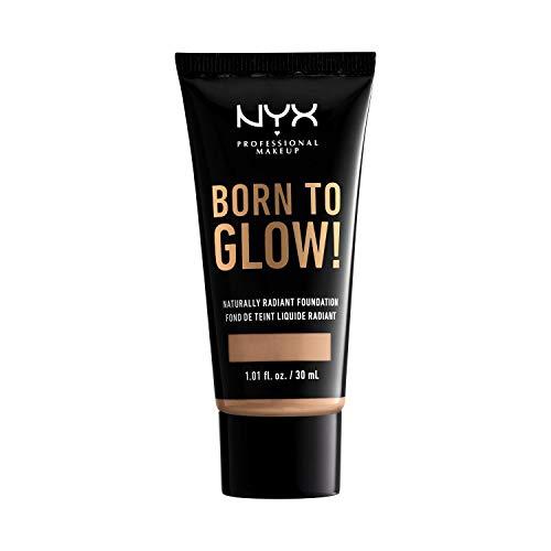 NYX Professional Makeup Born to Glow Radiant Foundation, Schimmerndes Finish, Aufbaufähige mittlere Deckkraft, Vegane Formel, Farbton: Medium Olive