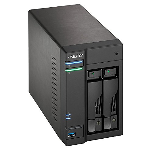 Asustor AS5102T 2-Bay NAS System (Intel Celeron 2.0 GHz Quad-Core, 2 GB RAM (upgradefähig bis 8 GB), Gigabit-LAN, USB 3.0, USB 2.0, eSata, HDMI 1.4a, HotSwap, Raid 0, 1, JBOD) schwarz