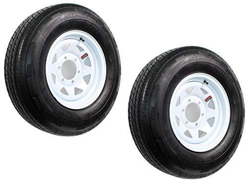 2-Pk Radial Trailer Tire Rim ST225/75R15 225/75-15 6 Lug Bolt White Spoke Wheel