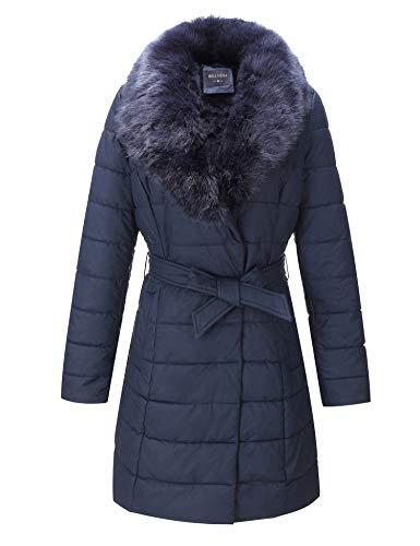 BELLIVERA Chaqueta acolchada ligera acolchada para mujer, abrigo acolchado con cuello de piel desmontable 5527 Azul XXL