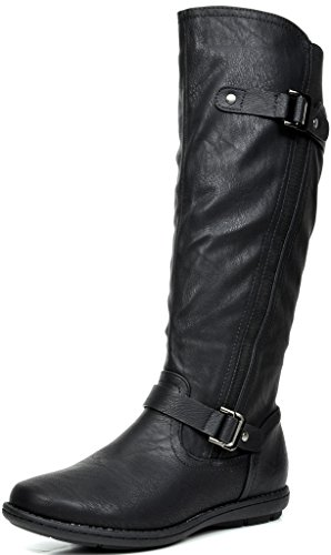 DREAM PAIRS Women's Trace Black Faux Fur-Lined Knee High Winter Boots Size 7 M US