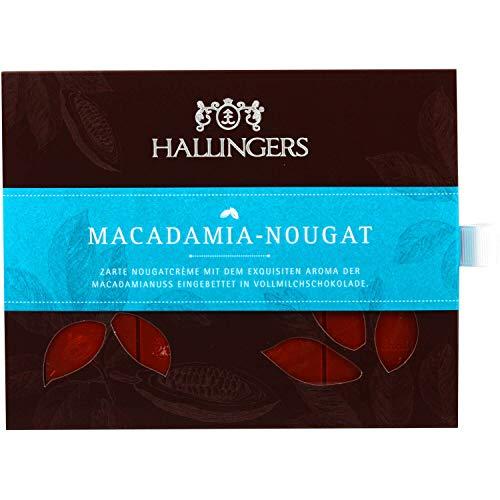 Hallingers Vollmilch-Schokolade mit Nuss-Nougat hand-geschöpft (90g) - Macadamia-Nougat (Tafel-Karton) - zu Passt immer