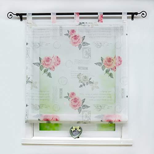 Joyswahl Voile Raffrollo halptransparenter Raffgardine mit Blumen Muster »Herta« Schals Fenster Vorhänge BxH 140x140cm Rot mit Schlaufen 1 Stück