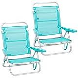 Pack de 2 sillas de Playa Convertibles en Cama de Aluminio y textileno (Aguamarina)