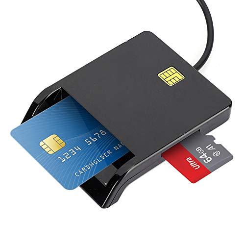 Lector de tarjetas inteligentes USB2.0 Lector de tarjetas múltiples Lector de tarjetas multifunción compatible con tarjetas inteligentes de 5V, 3V 1.8V, Lector ISO 7816 Clase A, B y C para tarjetas M2