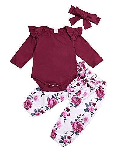 Säuglingsbabykleidung Langarm Strampler Overall Rüschen Bodysuit Floral Hosen Outfits mit Stirnband 3 Stücke Sets