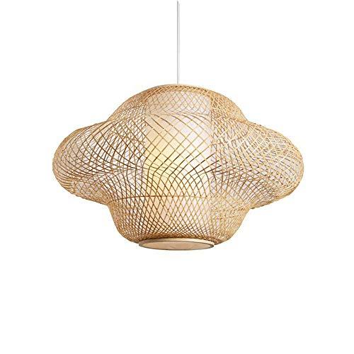 ZGZRXGY Sudeste asiático Estilo Hotel Lobby Luces Decorativas Estilo Moderno Chino Estilo Simple araña de bambú Estilo Rural hogar E27 Fuente de luz Droplight Mano Tejido de Mimbre lámpara Colgante