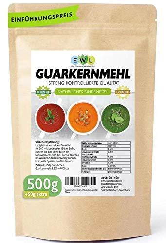 Guarkernmehl Guar Gum 500GR + 50GR extra XL Vorteilspack Guarkern Mehl abgefüllt u. kontrolliert bei uns in Deutschland E412 Glutenfrei Bindemittel Verdickungsmittel