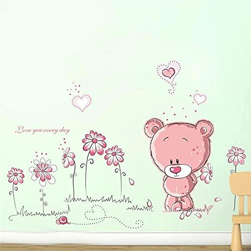 Pared de cristal de la flor del oso rosa de la historieta de 25X70Cm para las habitaciones de los niños sofá decoración del hogar calcomanías de pared de pvc decoraciones de la boda arte mural Diy