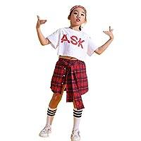 キッズ ダンス衣装 セットアップ ガールズ ヒップホップ チアダンス レッスン着 へそ出し Tシャツ スカッツ チェック 白 赤 K-POP 韓国 (ASKトップス+スカート,140)