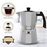 Espresso Maker by Cafe Du Chateau (6 cup) Transparent Top Lid, High Gloss Finish, Free Coffee Clip Spoon - Coffee Percolator