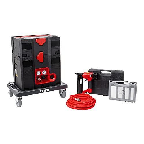 STIER Systainer-Kompressor-Set, inkl. Systainer II T-Loc, Rollbrett + Druckluftnagler und Stauchkopfnägeln, 6-teilig