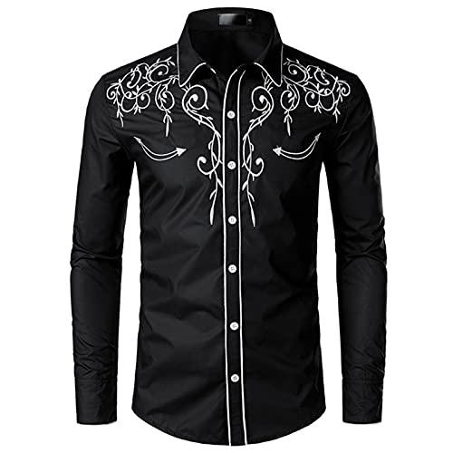 NW Camisa de vaquero occidental para hombre con estilo bordado slim fit casual manga larga camisas para hombre de boda fiesta camisa, Negro, S
