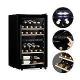 Klarstein Barossa 34D - Weinkühlschrank mit Glastür, Weinkühler, 2 Zonen, 34 Flaschen, 5 bis 18°C, 42 dB leise, LED, Touch, Türanschlag beidseitig, höhenverstellbar, schwarz