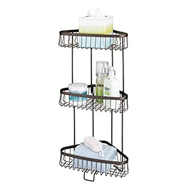mDesign Three-Tier Freestanding Wire Bathroom Storage Shelf for Lotion, Bar Soap, Hand Towels - Bronze
