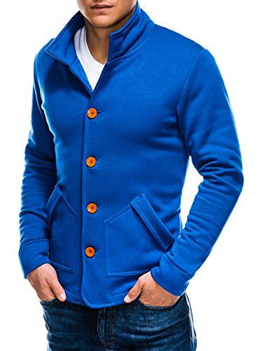 Ombre - Sudadera para hombre con cuello alto y tira de botones, tallas S-XL, 6 colores, 100% algodón azul S