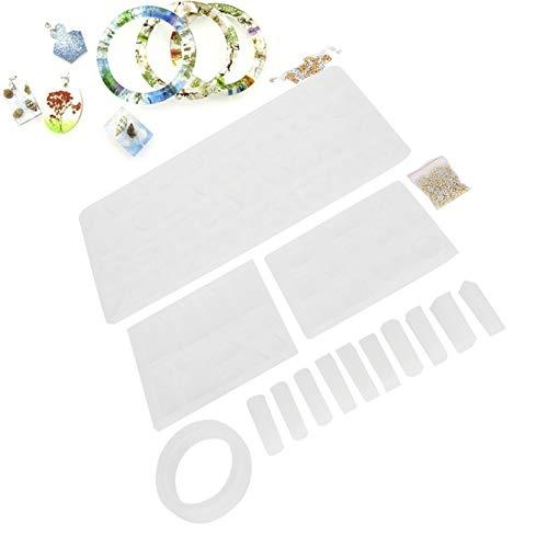 HAOX Molde de fundición, Kits de moldes de fundición de Silicona de Resina de Alfabeto Moldes de fundición de joyería de Bricolaje Moldes de Letras, para Hacer Manualidades Colgante de Llavero