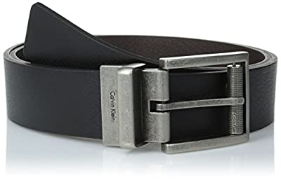 Calvin Klein Men's Reversible Harness Roller Buckle Belt, Black/Brown, 36