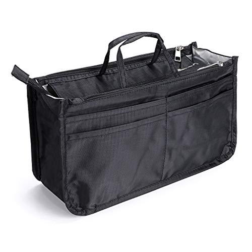 IGNPION Bedruckter Einsatz Handtasche Geldbörse Organizer 13 Taschen erweiterbar Liner Bag Pouch Reißverschluss Tote Organizer Wickeltasche Einsatz mit Griff (29x16x9cm) (schwarz)