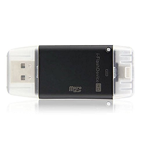 Mini i-Flash Drive HD USB / TF-Kartenleser für iPhone 6s 6s Plus 6 6Plus 5s 5 iPad, I-Flash-USB-STICK TF Micro SD-Kartenleser (Schwarz)