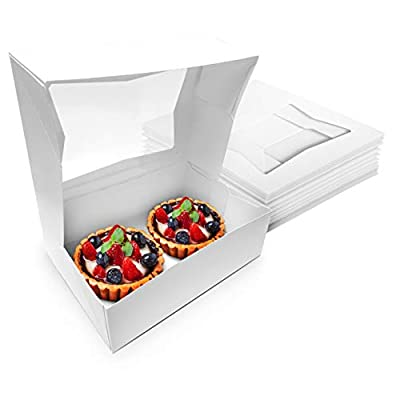 Stock Your Home 8 x 5 x 2.5 Inch White Cake Box with Viewing Window (15 Count) - Small Cookie Box - Cake Box with Auto Pop Design - Bakery Box with Window for Strawberries, Smash Hearts, Fruit Tarts by Stock Your Home
