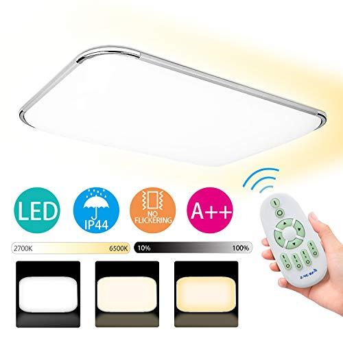 Hengda 48W Deckenlampe LED Deckenleuchte Dimmbar Flimmerfrei lampe für Schlafzimmer Küche Wohnzimmer Bad 6500K 4320lm IP44