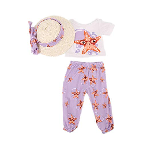 Baby Doll Clothes Hawaiian Beach Shirt Pants with Straw hat for 14-18 inch Baby Kids Doll Toys Accessories Clothing(Starfish)