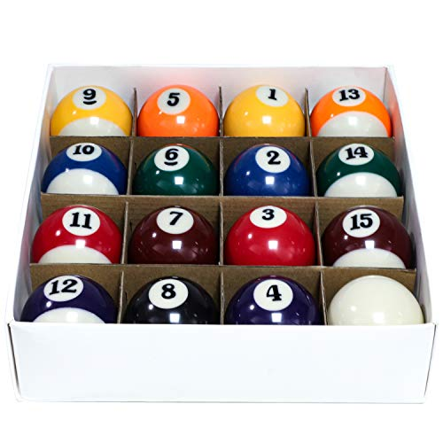 "Billiard Balls Set 2-1/4"" Pool Table Balls for Replacement (16 Resin Balls)"