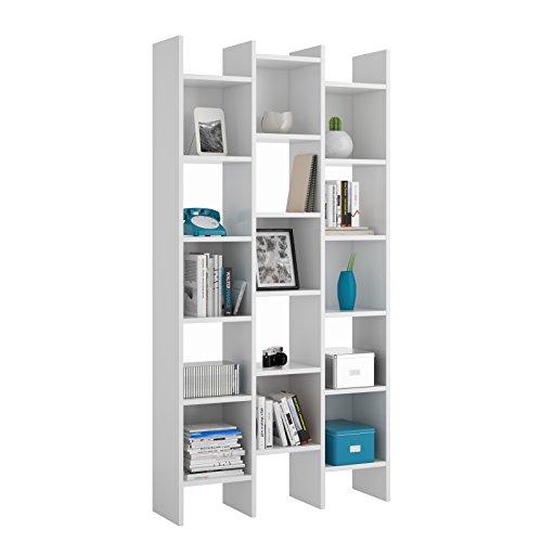 Bricozone Marchìna Libreria da Terra, Design Moderno, Libreria A 15 Vani, 192 x 96 x 25 cm, Bianco