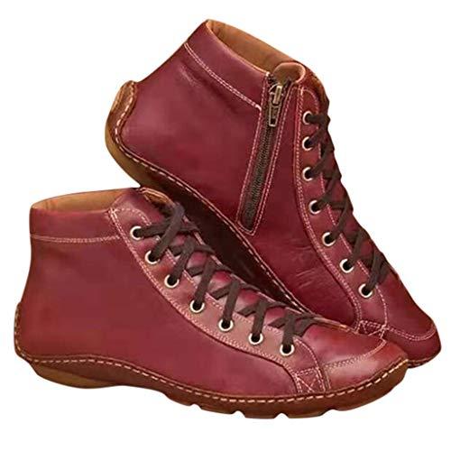 Stiefeletten Damen, KUDICO Western Kunstleder Frauen Flache Fersenstiefel Herbst Winter Bequeme Schnürschuhe Reißverschluss Schuhe Kurzer Boot(rot, 38 EU)
